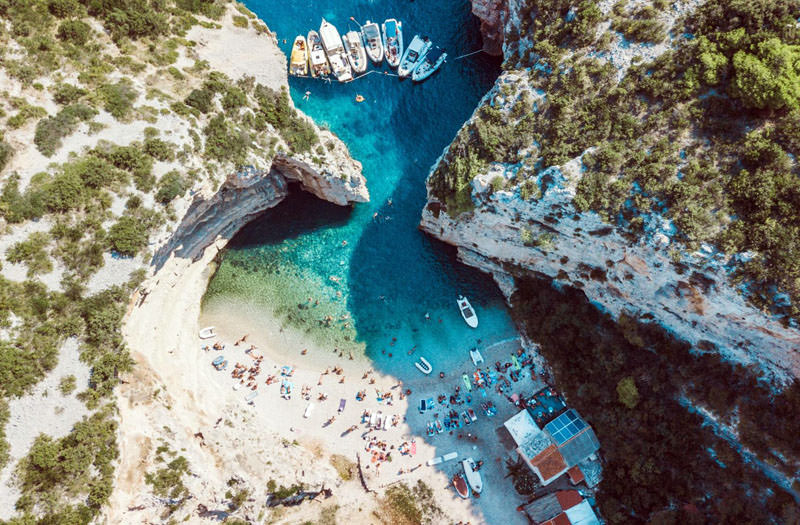 Famous Stiniva cove on island of Vis