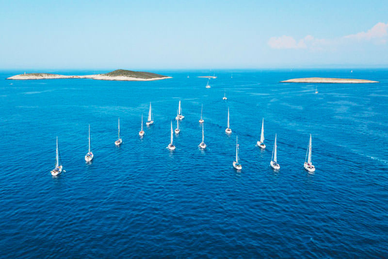 SailWeek Croatia fleet sailing in formation