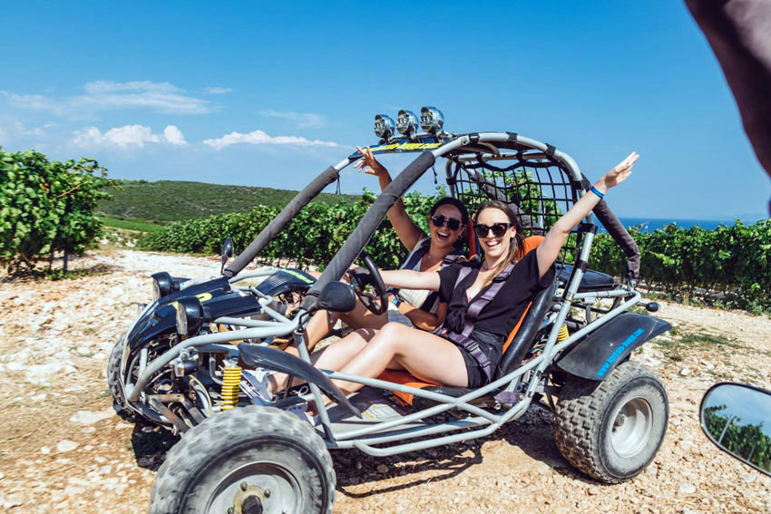 Buggy ride is one of many extra activities on Adventure SailWeek in Croatia