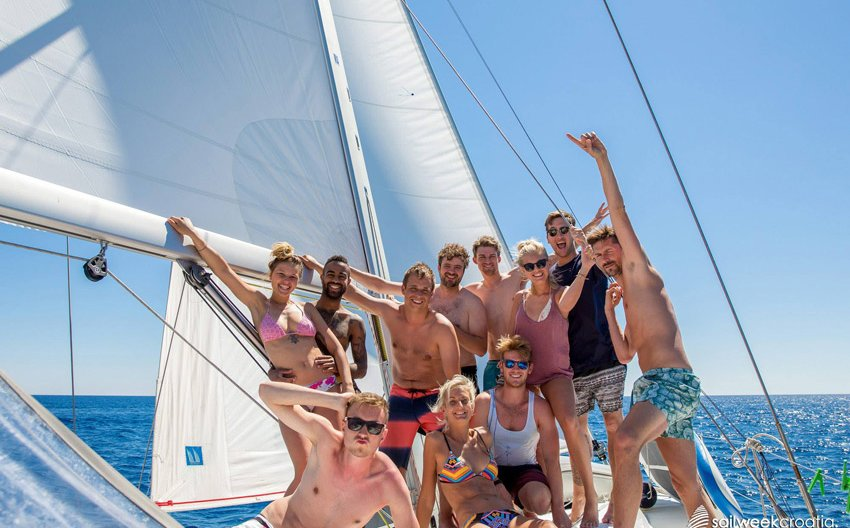 Sailing vacation, summer week on the yacht with friends
